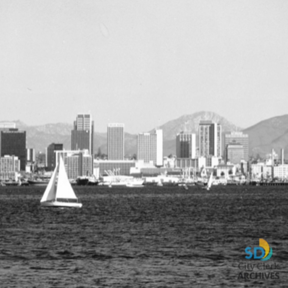 A black and white photo of the San Diego skyline taken in 1976